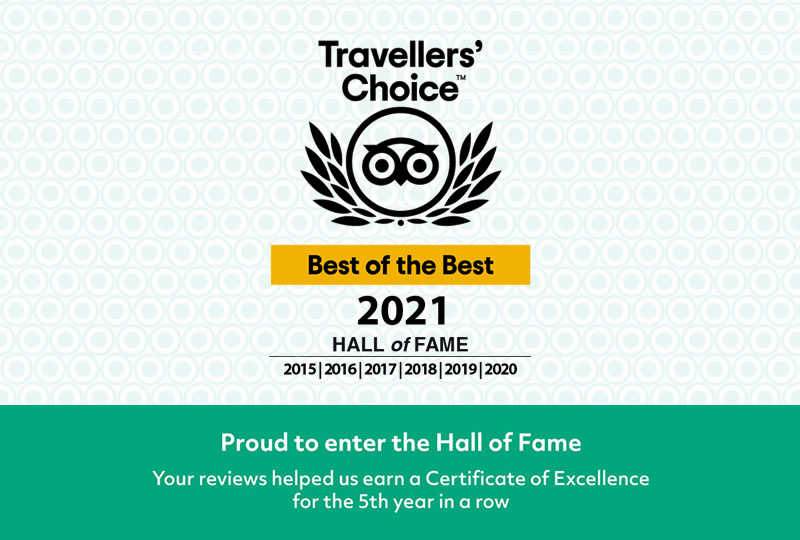 Certificate of Excellente - Tripadvisor Hall of Face